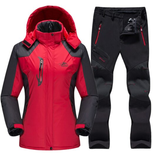 Winter Skiing Set Red Black