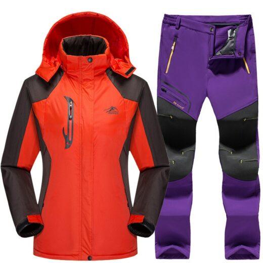 Winter Skiing Set Orange Purple