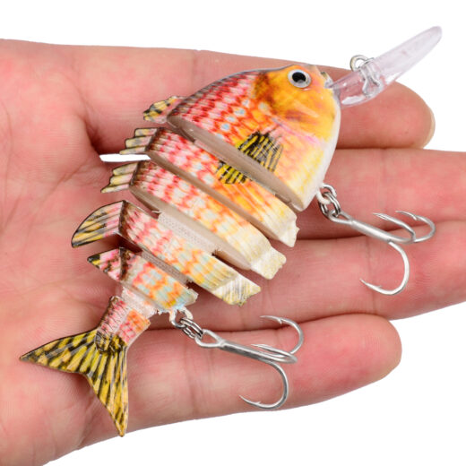 SwimBait 6 Sections Fishing Lures 8cm-14.5g and 15.5g with 6# and 8· Hook Fishing Tackle 16 Colors Fishing Baits