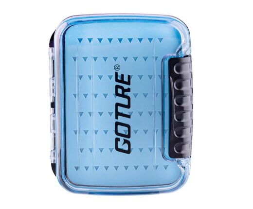 Goture Portable Waterprooof Fly Fishing Tackle Box Two-sided Multiple Silicone Holders