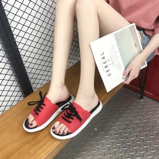 SAGACE Fashion Casual Shoes women Slippers women Print Beach Shoes Flat With Outdoor Slipper women Footwear Red