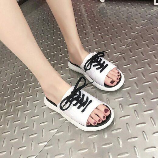 SAGACE Fashion Casual Shoes women Slippers women Print Beach Shoes Flat With Outdoor Slipper women Footwear White