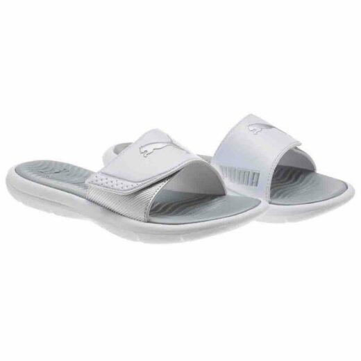Puma Ladies Slides Beach Sandals Slippers Surfcat Wns White