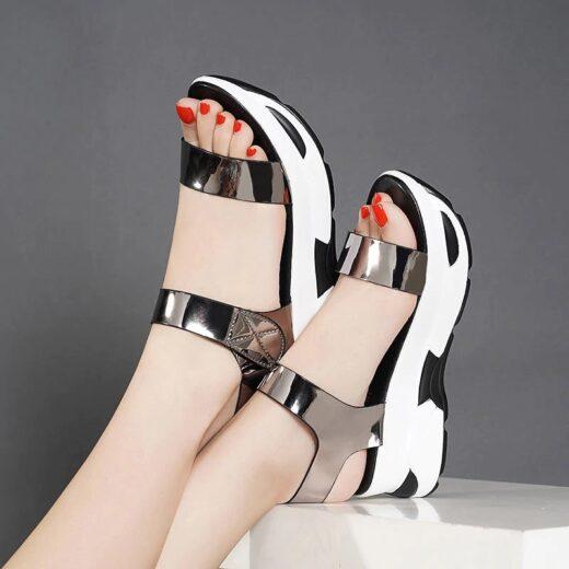 Summer Platform Sandals Patent Leather