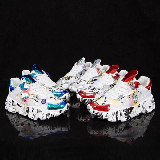 AODLEE Women Chunky Sneakers Platform Flats Shoes Red Blue White