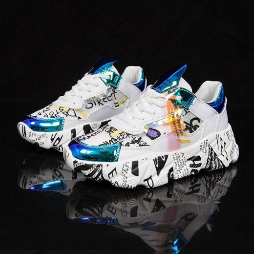 AODLEE Women Chunky Sneakers Platform Flats Shoes Blue