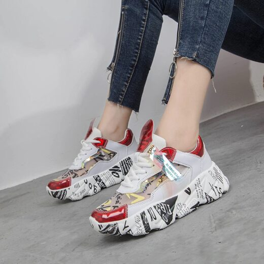 AODLEE Women Chunky Sneakers Platform Flats Shoes Red on Model
