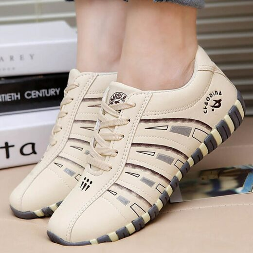 Women Sneakers Sports Shoes Woman Striped Lace-up Running Casual Women Trainers Comfortable Beige