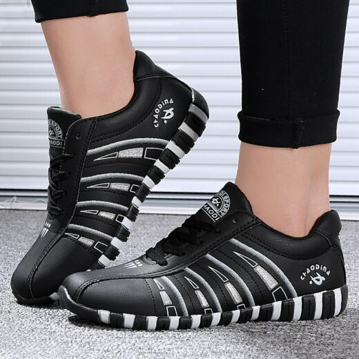 Women Sneakers Sports Shoes Woman Striped Lace-up Running Casual Women Trainers Comfortable Black