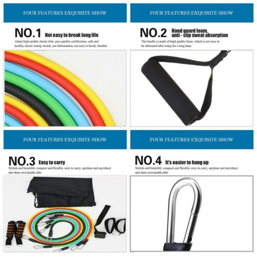 11pcs set Pull Rope Fitness Exercises Resistance Bands Latex Tubes Excerciser Body Training Gym Home Workout Features