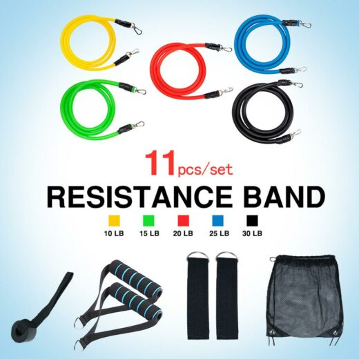 11pcs set Pull Rope Fitness Exercises Resistance Bands Latex Tubes Excerciser Body Training Gym Home Workout Bundle