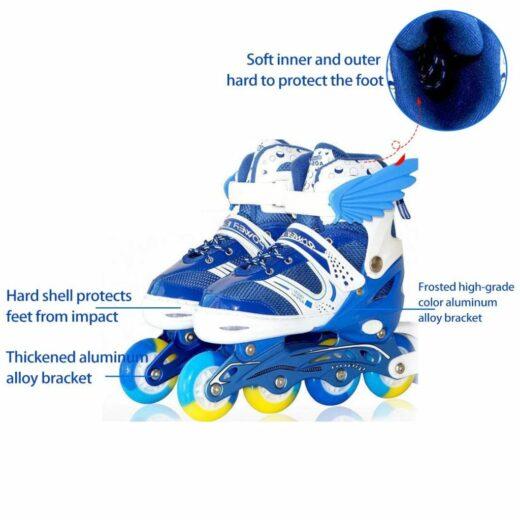 Children Adjustable Skates Roller Skates Boys Girls Full Set Kids Inline Skates Combo Set Instruction