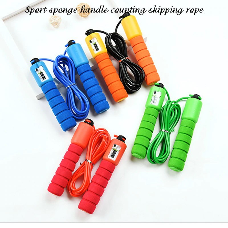Sport sponge handle counting skipping rope All colors