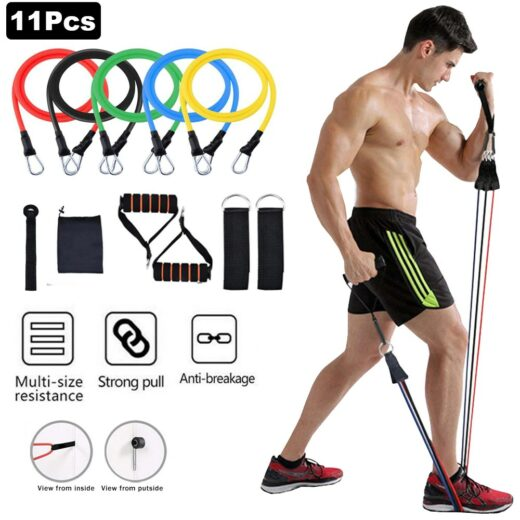 11pcs set Pull Rope Fitness Exercises Resistance Bands Latex Tubes Excerciser Body Training Gym Home Workout
