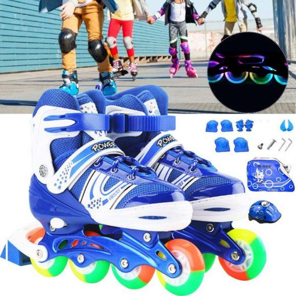 Children Adjustable Skates Roller Skates Boys Girls Full Set Kids Inline Skates Combo Set