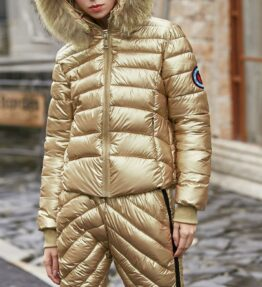 Winter Hooded Jacket and Pants with Fur Collar