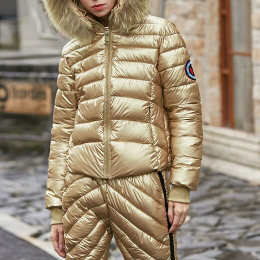 Winter suit With Natural Fox Collar Gold