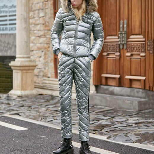 Winter suit With Natural Fox Collar Gray