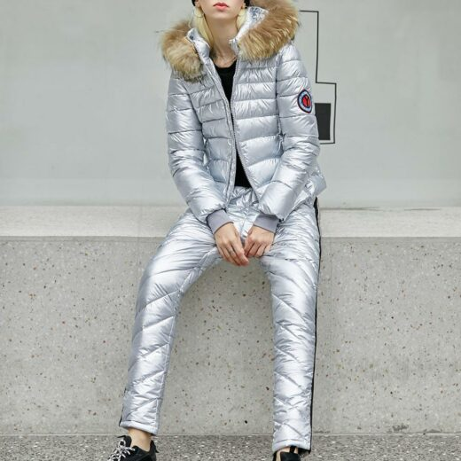 Winter suit With Natural Fox Collar Silver
