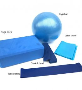 Yoga Exercises Set (Ball, Block, Stretching band, Cotton strap, Loop band)