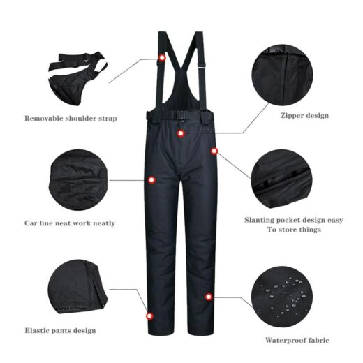 Ski Pants Men And Women Outdoor High Quality Windproof Waterproof Warm Couple Snow Trousers Winter Ski Pants Features