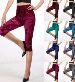 Fashion Jeans Looking Capri Leggings