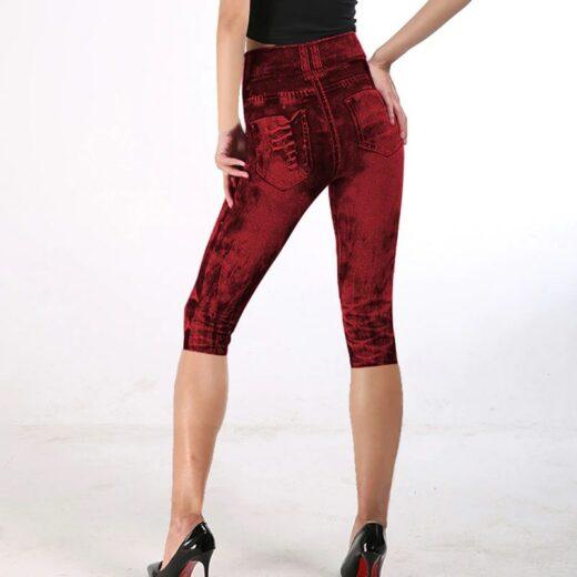 Women High Waist Fitness Capri Leggings Joggers Red Back