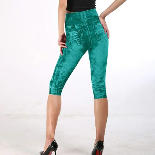 Women High Waist Fitness Capri Leggings Joggers Green Back