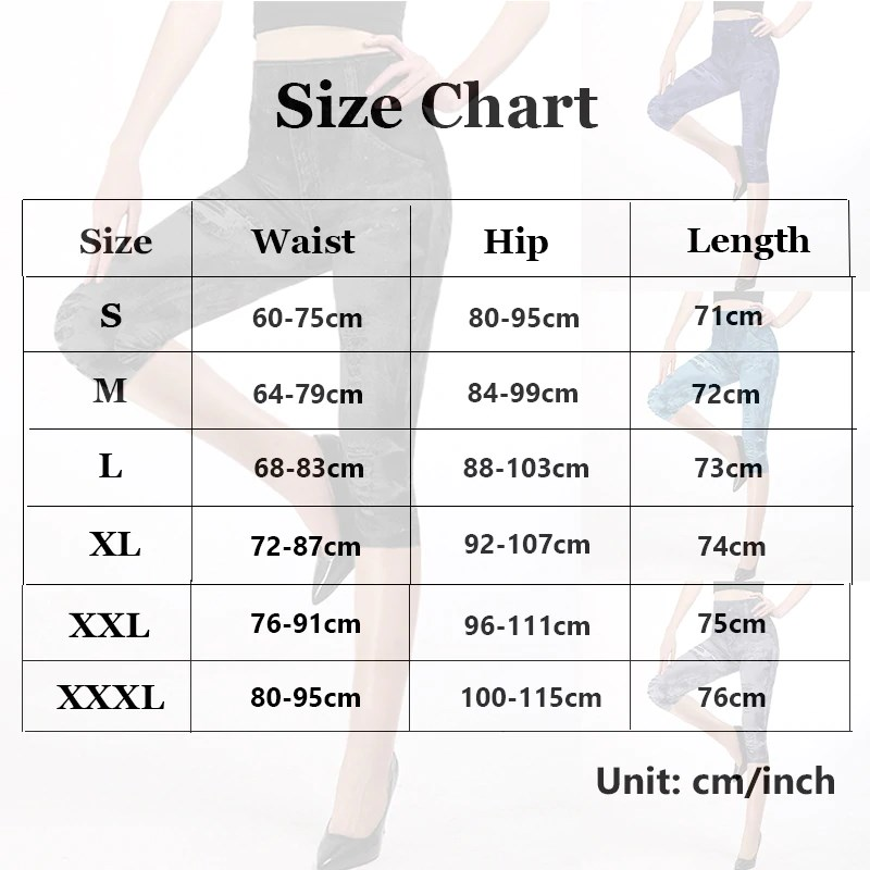 Fashion Jeans Looking Capri Leggings Sizes