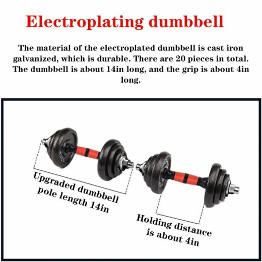 Home Gym Adjustable Weight Dumbbell Set Free Weight Set With Connecting Rod 50KG 110LB Adjustable Dumbell Electroplating dumbell