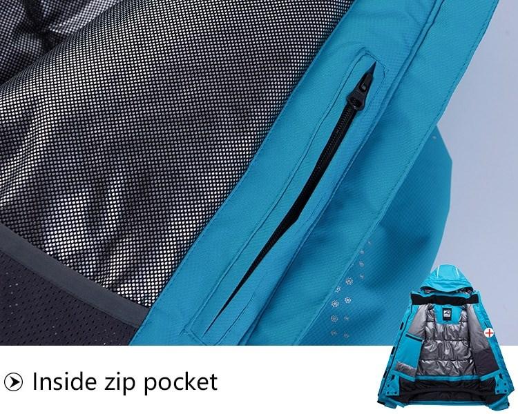 Sport Snow Jacket. Inside zip pocket.