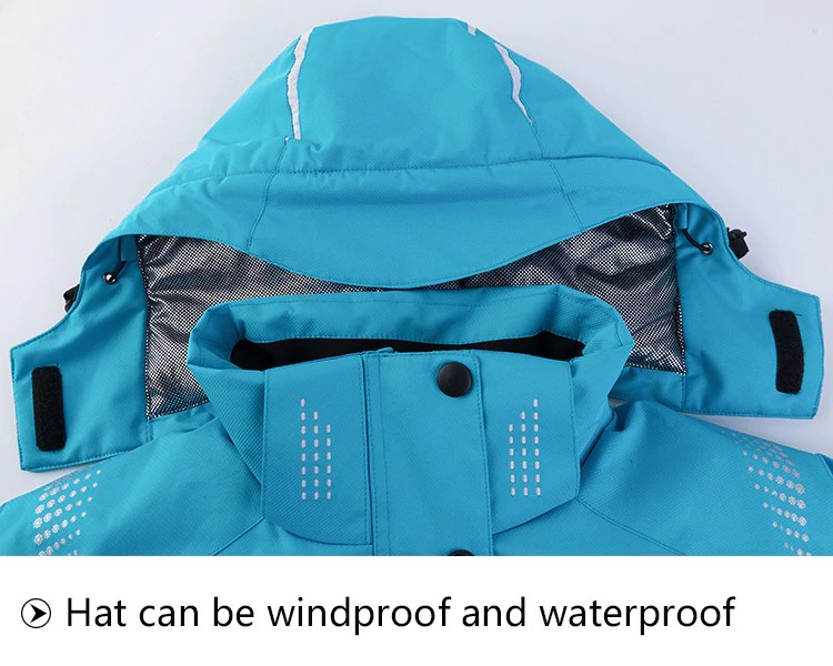 Snow Sports Ski Jacket. Hat is windproof and waterproof.