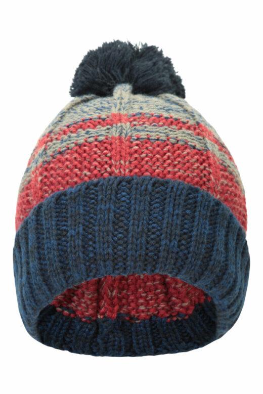 Stripe Cable Knit Bobble Hat Blue