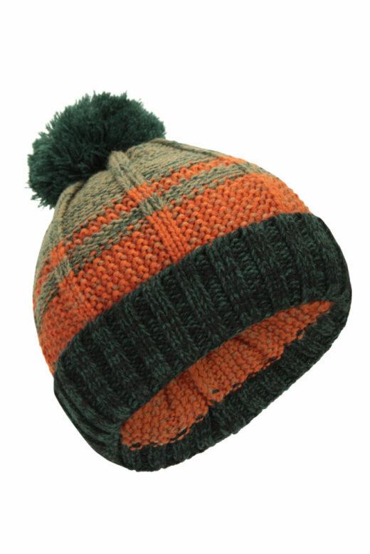 Stripe Cable Knit Bobble Hat Orange
