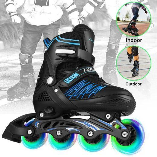 Adjustable Inline Skates Kids Girls Boys Roller Skate with Illuminating Wheel