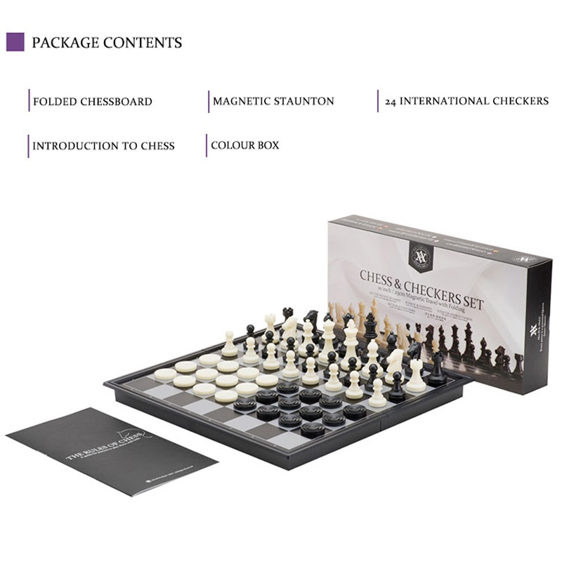 Magnetic chess and checkers set for professional tournaments and recreation