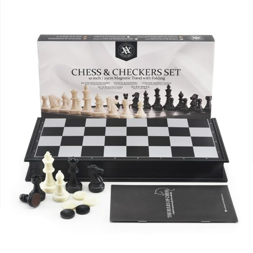 Magnetic chess and checkers set for professional tournaments and recreation.