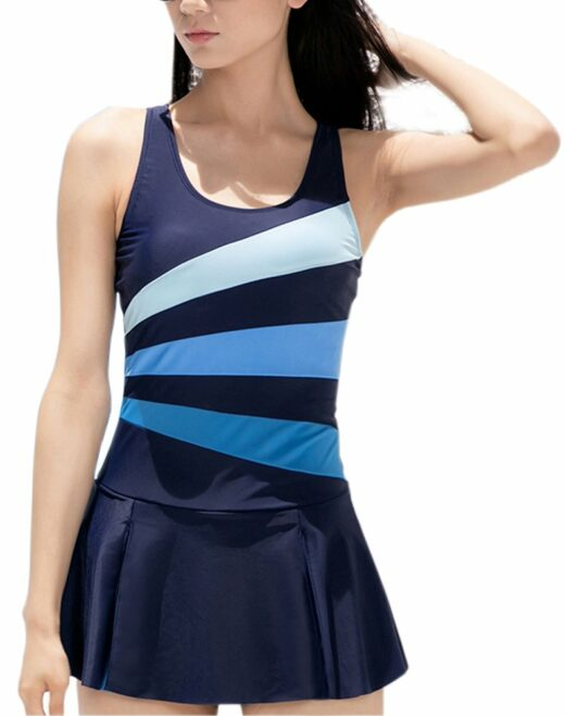 One-piece swimsuit with skirt