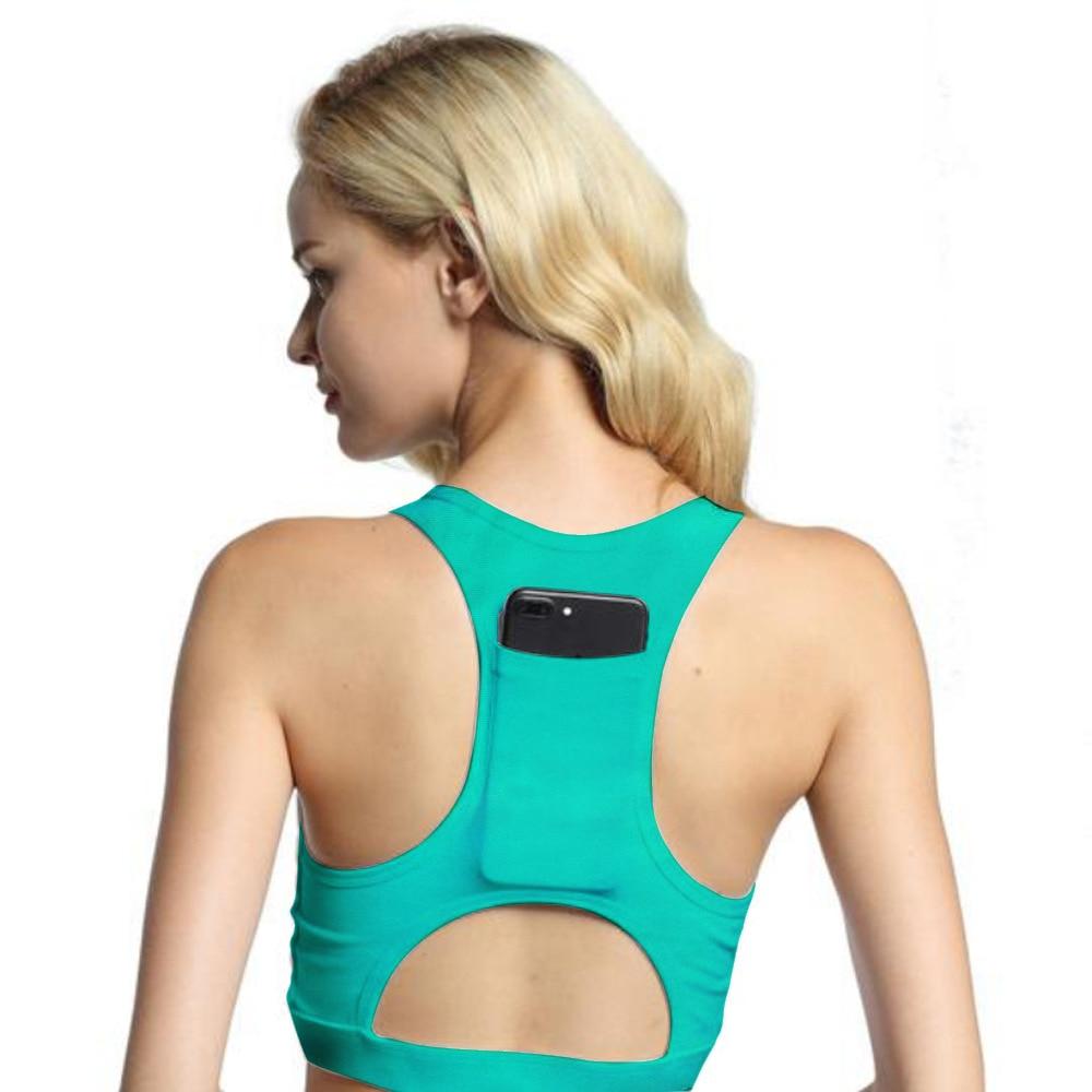 Women Sports Bra With Phone Pocket Print Yoga Top Fitness Running Wear Haut Femme Padding Gym Bras Wireless Top Deportivo Mujer