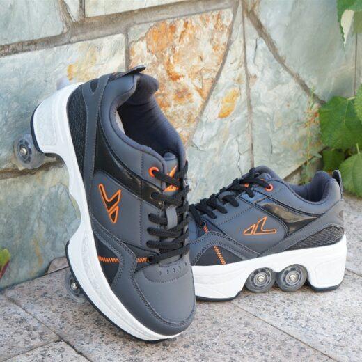 Walk Roller Skates Transformer Shoes Gray Black