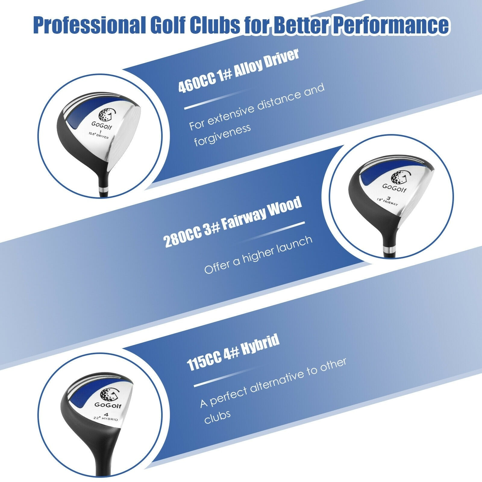 10 Pcs mens Complete Golf Club Set with Alloy Driver golf clubs iron set Womens Ladies Female Girls Half Golf Clubs