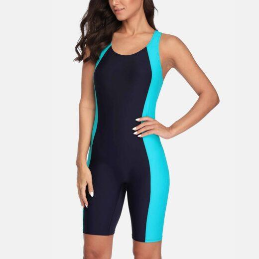 Anfilia One Piece Women Pro Sports Swimwear Boyleg Knee-length Sport Swimsuit Patchwork Bikini Beach Wear Bathing Suit