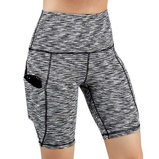 Yoga Sport Running Shorts Women High Waist Gray