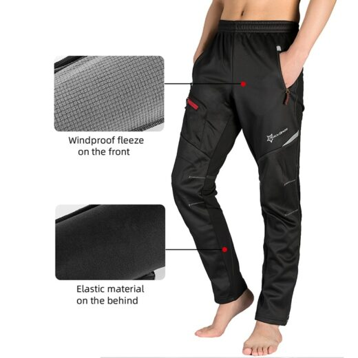 ROCKBROS Winter Bike Pants Men Women Thermal Warm Long Cycling Pants Fleece Reflective Windproof MTB Sports Bicycle Trousers