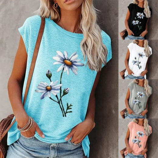 Summer Tee Shirt for Women Round Neck Short Sleeve Casual Flower Print Vintage Tops Pullover Female Elegant Streetwear T-shirts Cover