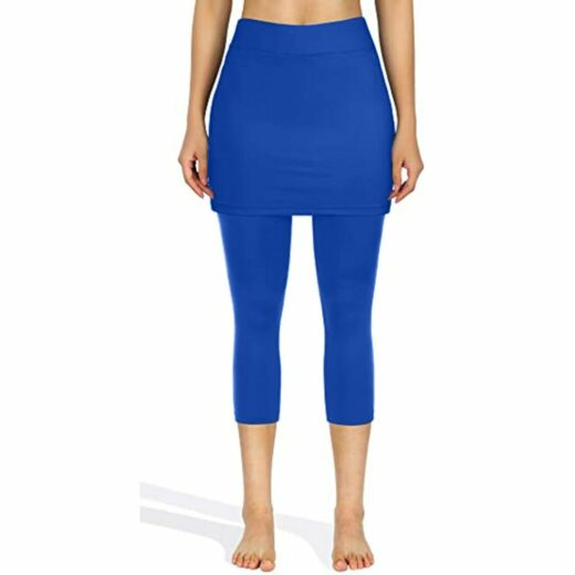 Leggings Women Tennis Skirted Legging Pockets Elastic Sports Fitness Capris Solid Pants leggins