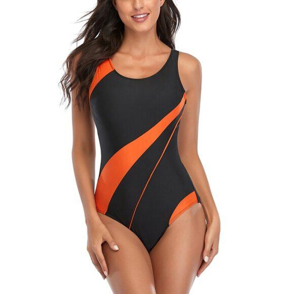 Patchwork One Piece Swimsuit