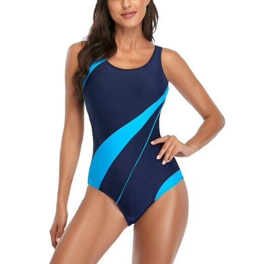 Riseado Patchwork One Piece Swimsuit 2021 Sports Swimwear Women Competition Beachwear Racerback Swimming Suits for Women