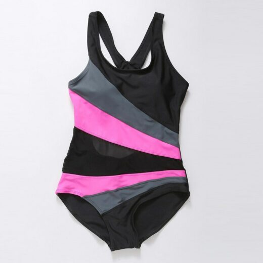 Women Racer Back Swimsuits with Striped Patchwork
