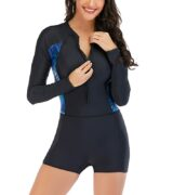 Rash Guard One Piece Swimsuit Boyleg Swimwear Women Long Sleeve Swim Wear Zipper Bathing Suits Sports Swimming Suit 2021